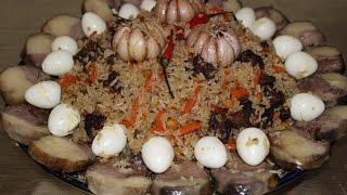 Плов узбекский из баранины с казы и перепелиными яйцами.