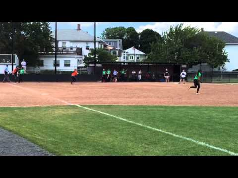 Steph playing 1st at Tufts Softball Camp