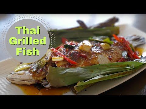 Thai Food Barramundi Grilled In Banana Leaf
