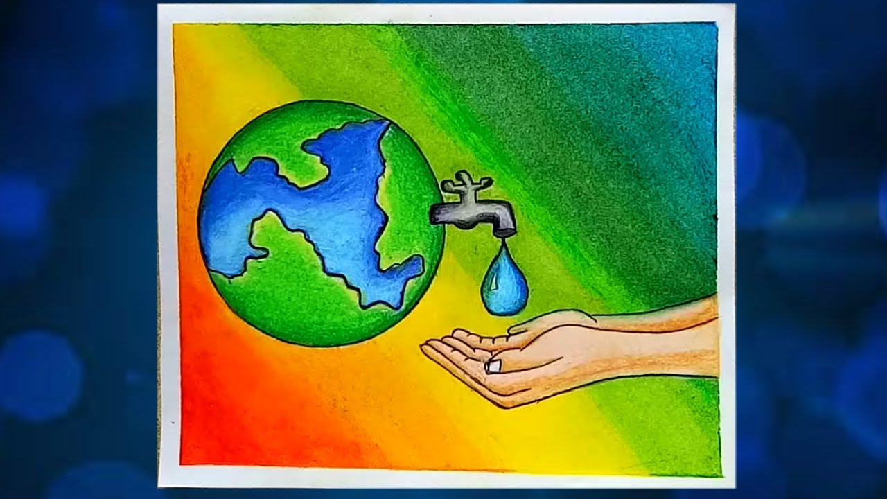 How to draw save water step by step poster on save water mukta easy drawing