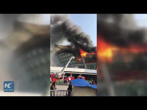 Fire breaks out at Shanghai Hongkou football stadium