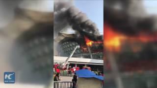 Fire breaks out at Shanghai Hongkou football stadium