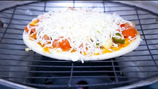 Homemade grill pizza on Rajasthani baati cooker Home made pizza recipe