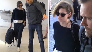 Kristen Stewart Cracks A Smile At LAX When Asked If She