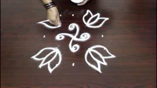 simple rangoli lotus designs with 5x5 dots- lotus kolam designs with dots- muggulu designs with dots