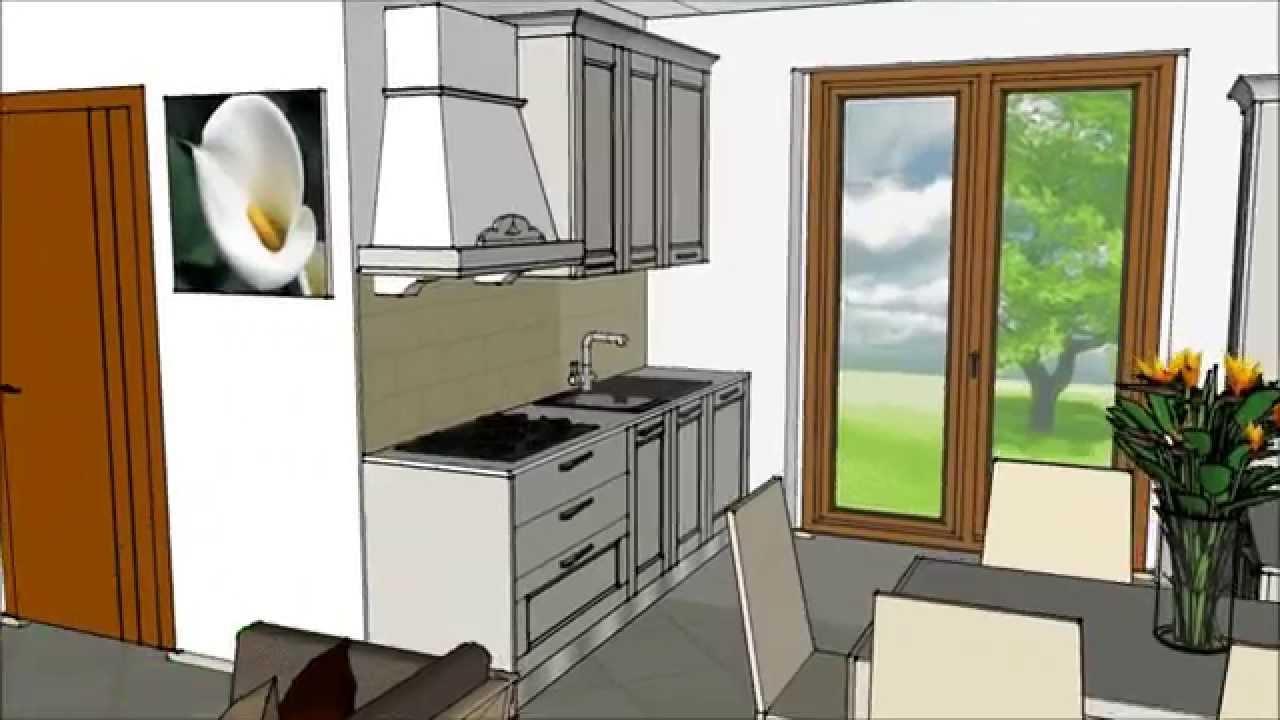 Dea interni arredamenti cucina e zona living 3d youtube for Cucina in 3d