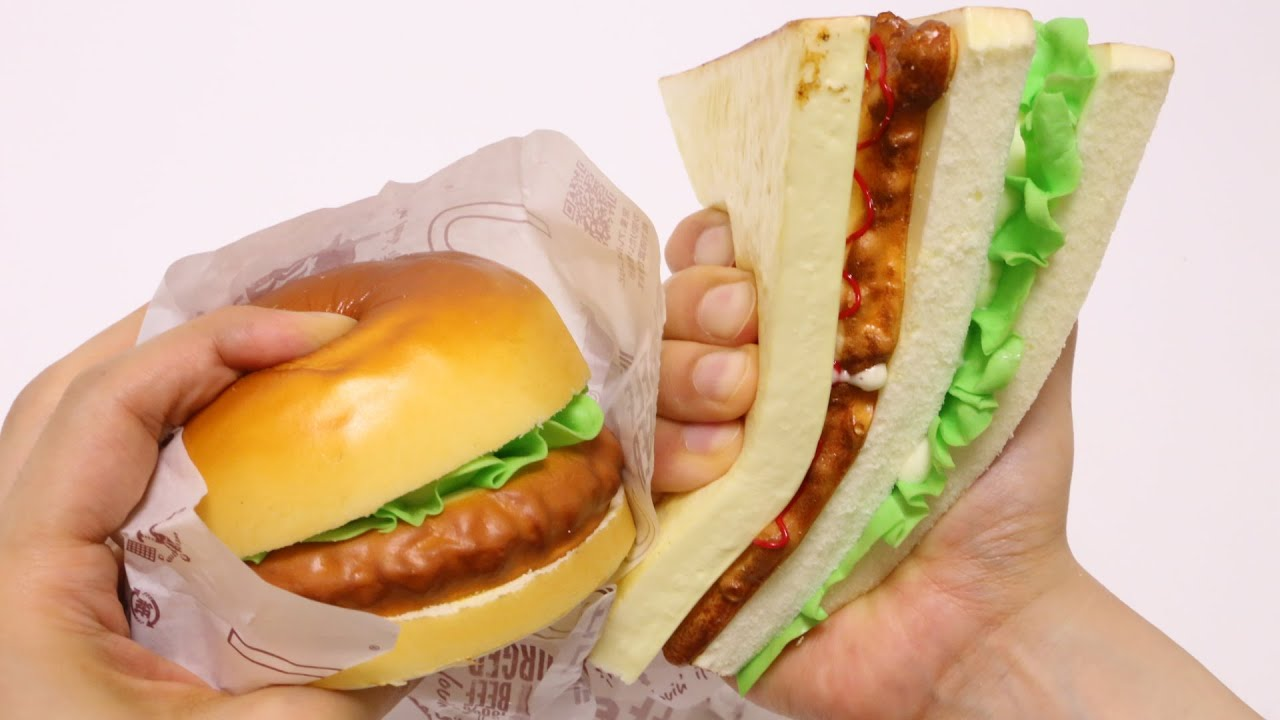 Burger and Sandwich Squishies Food Sample - YouTube