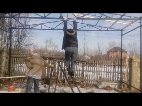 Ролик Гараж из металла своими руками 5 (каркасный гараж)