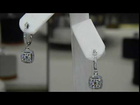 Dangle Diamond Earrings 14k White Gold