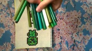 Как нарисовать крипера по клеточкам. Видеоурок 1.