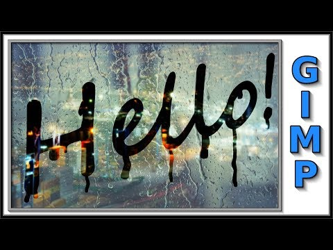 Gimp: text on a foggy window.