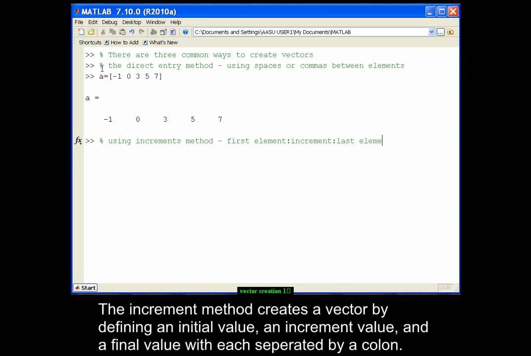 Creating vectors in MATLAB