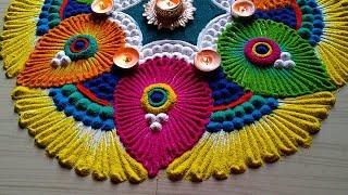 Diwali/colourful peacock feather rangoli easy