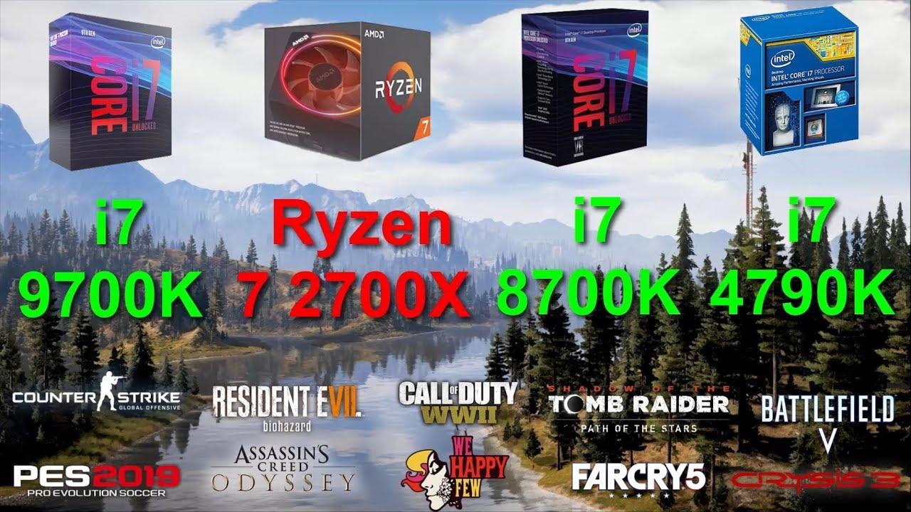 i7 9700K vs Ryzen 7 2700X vs i7 8700K vs i7 4790K | Tested in 10 PC games |  RTX 2080 Ti 11GB