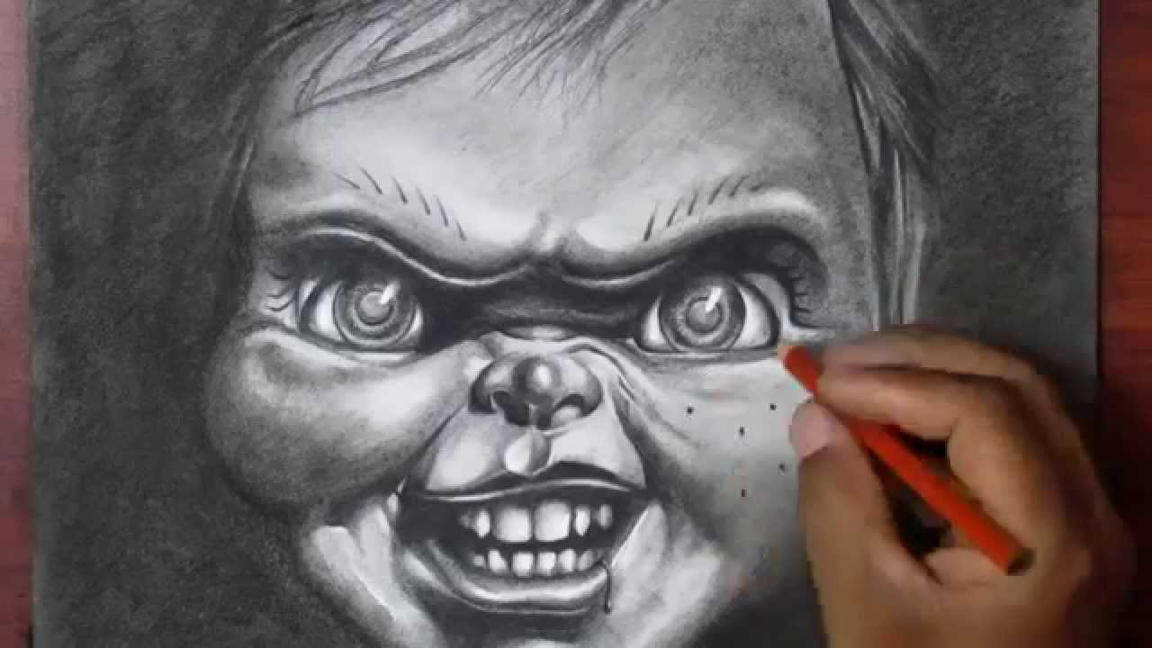 drawing chucky charcoal time lapse youtube. Black Bedroom Furniture Sets. Home Design Ideas