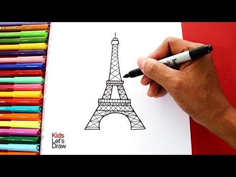 Cómo Dibujar La TORRE EIFFEL Fácil (paso A Paso)   How To Draw The Eiffel Tower Easy!