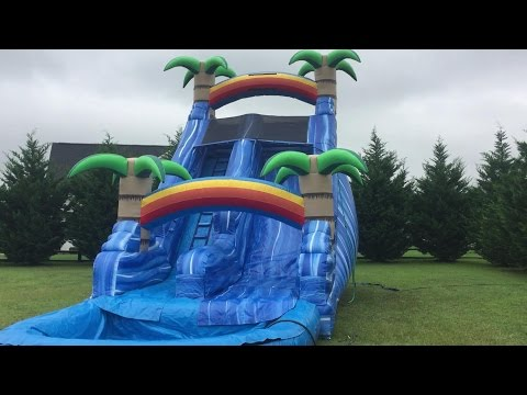 Inflatable Water Slide Tropical 20 feet with Pool Fun Brooke and Azlynn Show