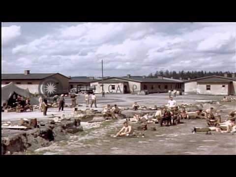 Liberated United States airmen prisoners at Stalag 7A in Moosburg, Germany HD Stock Footage