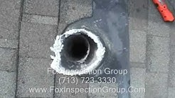 Houston Home Inspector checks Dryer Vent Roof Termination Inspection