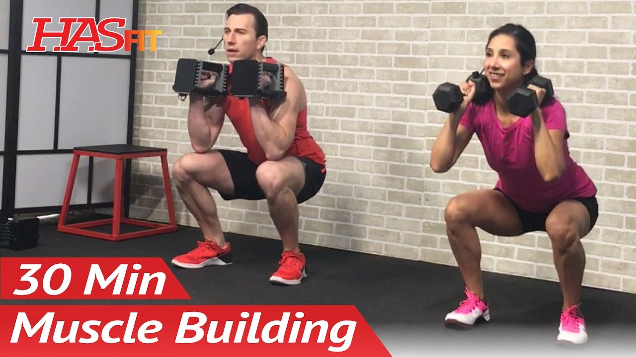 30 Min Home Leg Workout with Dumbbells for Women & Men - Bodybuilding Legs Workout at Home Exercise
