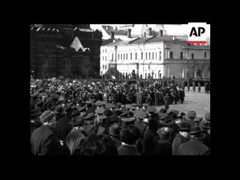 CAN953 FUNERAL OF SOVIET DEFENSE MINISTER MALINOVSKY IN RED SQUARE