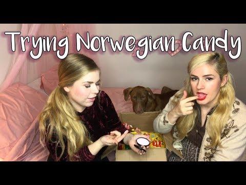 American and Swedish girls try Norwegian candy
