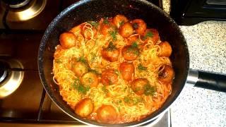 Спагетти в томатном соусе с фрикадельками.Ужин за 30 минут.