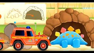 Пожарная машинка с прицепом - мультик про пожарную машинку и динозавра.