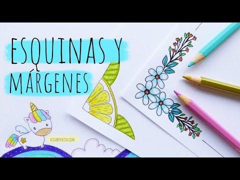 ESQUINAS Y MÁRGENES PARA CUADERNOS (3) 💜💚💛CÓMO DIBUJAR UN UNICORNIO KAWAII