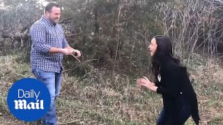 Woman jumps and screams with glee after marriage proposal