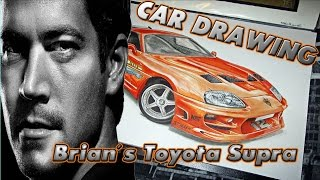 Brian´s Toyota Supra [The Fast And The Furious/Fan Art] Car Drawing By Fast Art