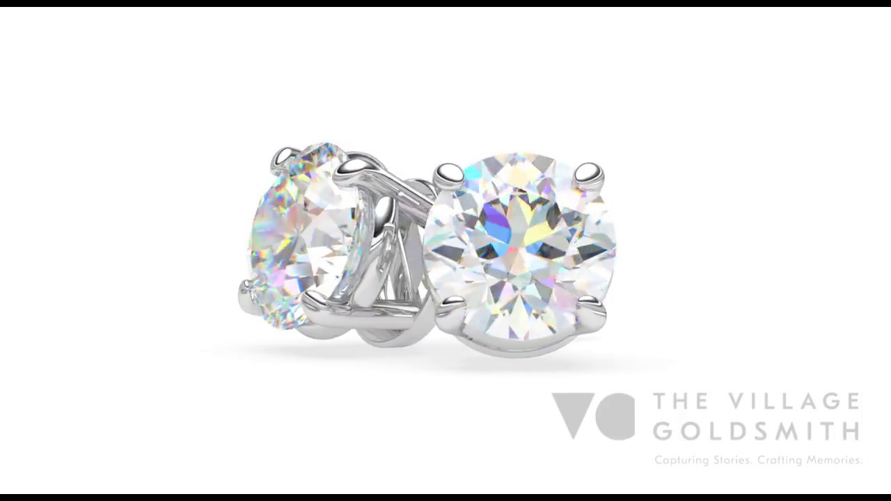 Round Brilliant Diamond Stud Earrings The Village Goldsmith New Zealand