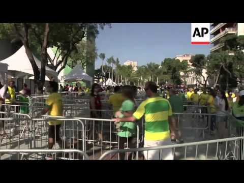 Fans arrive at Maracana stadium for the friendly match between Brazil and England