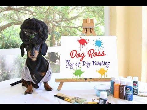 Dog Ross Returns - Paints Scenic Backyard for Charity Auction