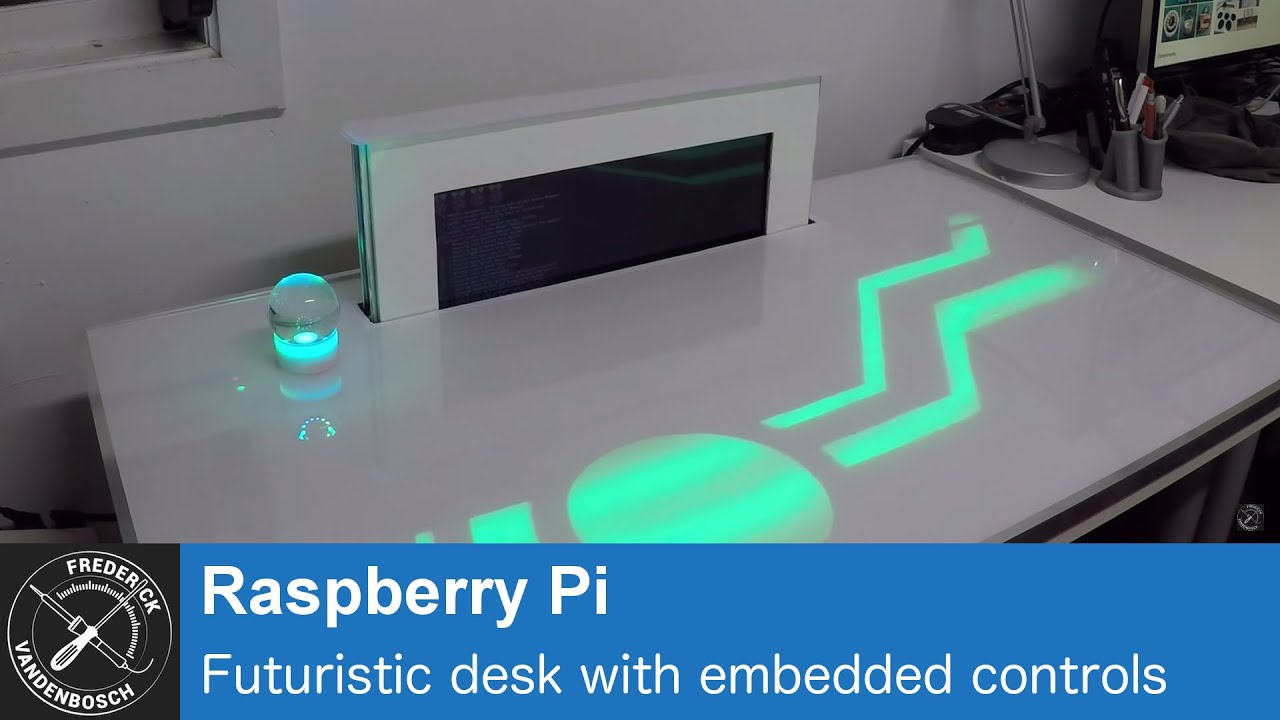 PiDesk - Futuristic desk with embedded controls, using Raspberry Pi -  YouTube