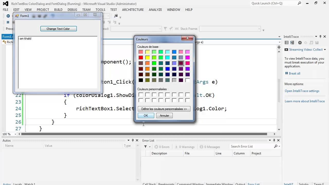 53. برمجة الواجهات - RichTextBox, ColorDialog, FontDialog