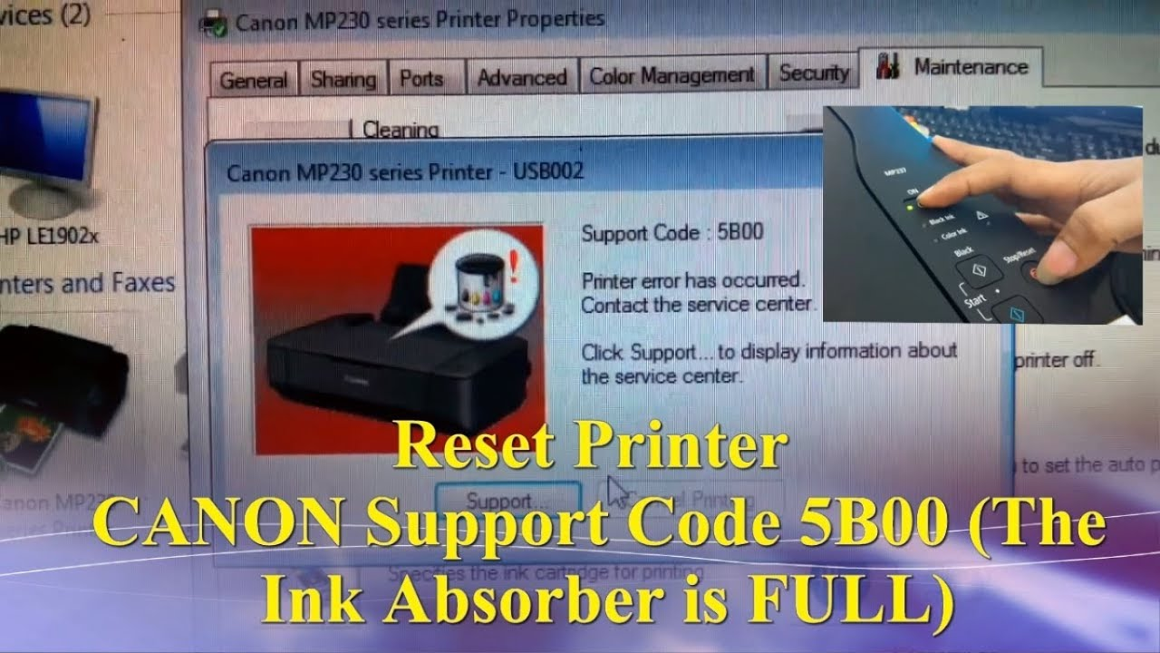 Reset Printer Canon Support Code Error 5b00 The Ink Absorber Is