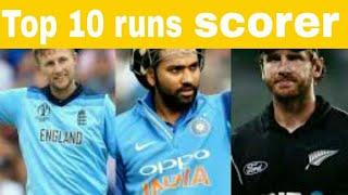 Top 10 most runs scorer in World Cup 2019