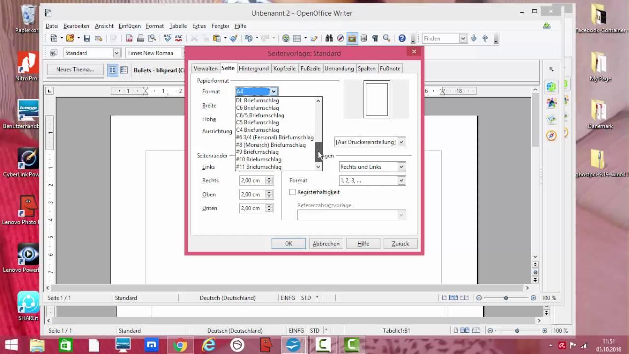 openOffice Seiten einrichten- Seite einstellen- Seite ändern