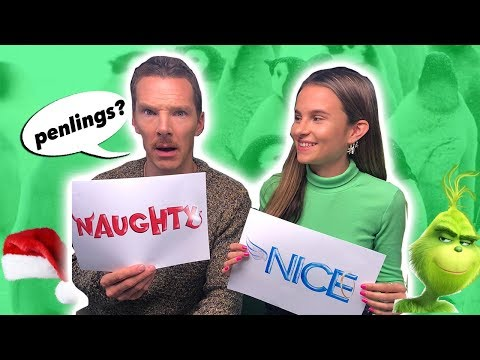 Benedict Cumberbatch plays Naughty or Nice and still can't say penguin / The Grinch / Lovevie