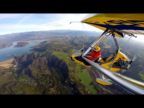 Ultralight Trike flying over Fresh Spring Greens