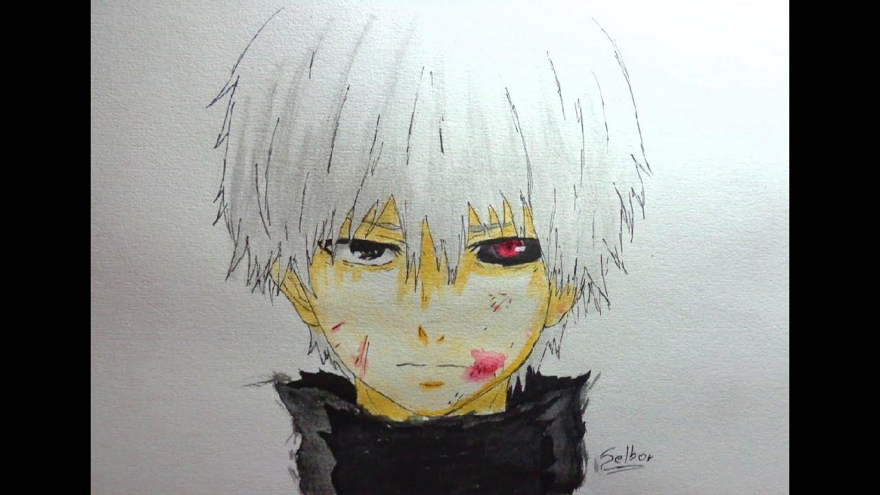 Cmo dibujar a Ken Kaneki Tokyo Ghoul  Selbor  YouTube