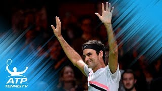 Roger Federer back at World No1 winning moment and celebration  Rotterdam 2018