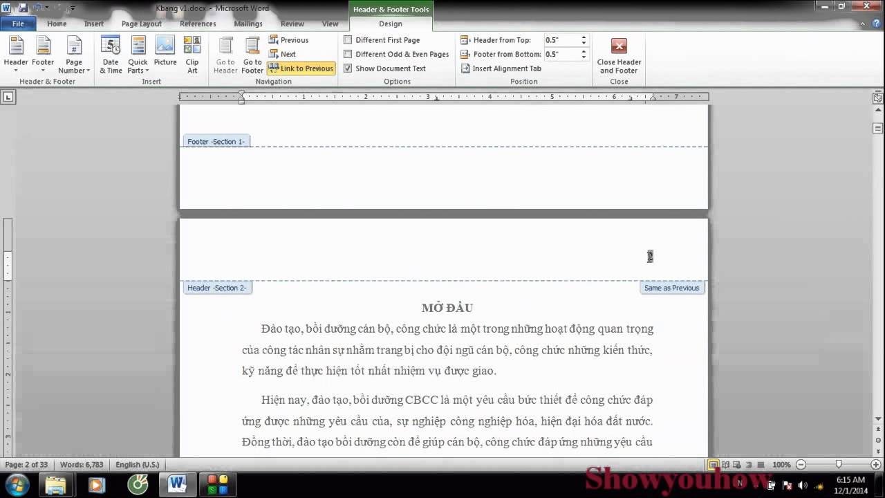 Hướng dẫn cách đánh số trang từ trang bất kỳ trong Word 2010, 2013, 2007