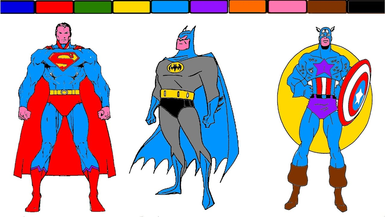 learn colors superman batman and captain america coloring pages
