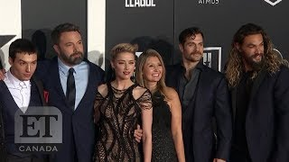 "Henry cavill, diane lane, j.k. simmons and ray fisher walk the red carpet at l.a. premiere of ""justice league"", talking departure zack snyder ..."