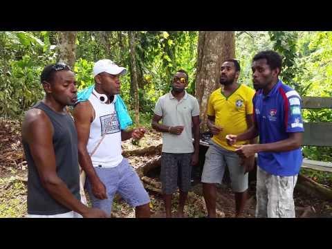 Cool Vanuatu locals singing in harmony at Cascade Waterfalls near Port Vila