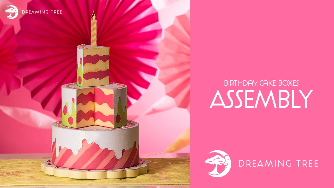 Svg File Birthday Cake Boxes Assembly Tutorials Youtube