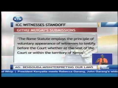 Attorney General Professor Githu Muigai tells ICC Kenya can't compel witnesses