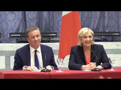 Nicolas Dupont-Aignan announces support for Marine Le Pen.